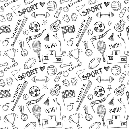 weightlifting gloves: Hand drawn vector illustrations. Sport and fitness seamless pattern. Sketch background Illustration