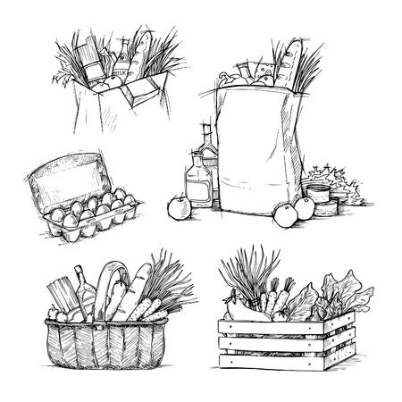 Hand getrokken vectorillustraties - boodschappentassen met gezonde voeding. Supermarkt. Supermarkt.