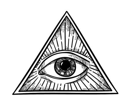 Mano vector dibujado - Todo viendo símbolo de la pirámide del ojo. Masón y espiritual. Vendimia