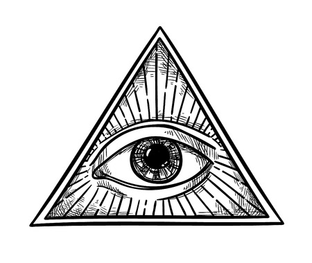 Mano illustrazione vettoriale disegnato - Tutti a vedere il simbolo piramide occhio. Massone e spirituale. Annata Archivio Fotografico - 68961773