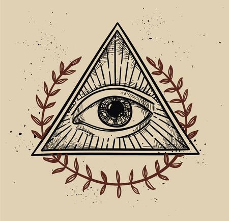 Hand Drawn Vector Illustration All Seeing Eye Pyramid Symbol