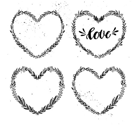 Hand drawn vector illustration. Vintage decorative collection of laurels and wreath in shape heart. Tribal design elements. Perfect for invitations, greeting cards, quotes, blogs, posters and more. Vettoriali