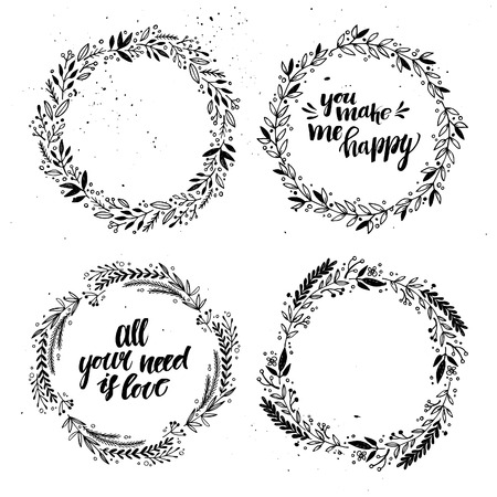 Hand drawn vector illustration - Laurels and wreaths. Happy valentines day. Design elements for invitations, greeting cards, quotes, blogs, posters and more. Illustration