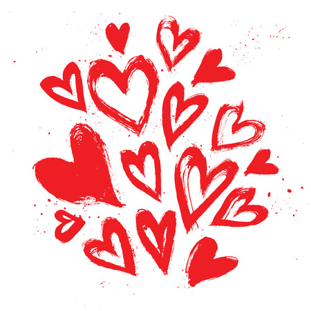 Hand drawn vector vintage texture. Collection with ink hearts. Ink and brush