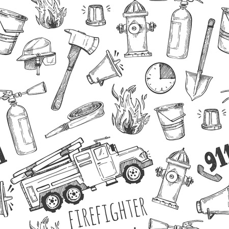 Hand drawn vector illustration - firefighter. Seamless pattern Ilustração