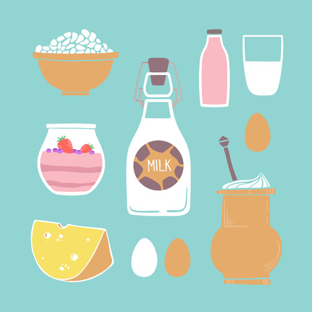 udders: Hand drawn vector illustration - Set of milk products (milk, yogurt, cheese, eggs, cheese)