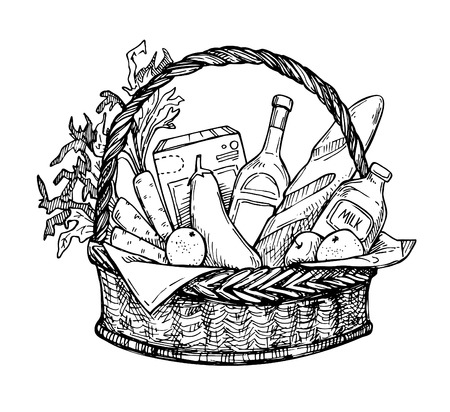 provision: Hand drawn vector illustration - Supermarket shopping basket with organic food. Grocery store.