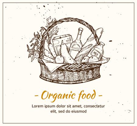 Hand getrokken vectorillustratie - supermarkt winkelmandje met biologisch voedsel. Supermarkt.