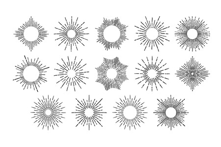 Hand Drawn vector vintage elements - sunburst (bursting rays). Perfect for invitations, greeting cards, blogs, posters and more.