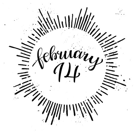 14 february: 14 february. Hand lettering vintage quote. Modern Calligraphy. Perfect for invitations, greeting cards, quotes, blogs, posters and more. Vector Illustration
