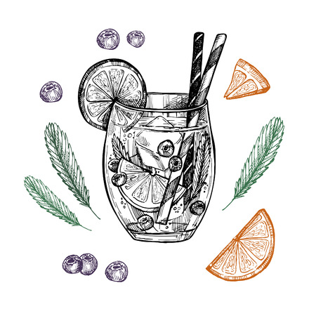 Hand drawn vector illustration - Lemonade with blueberry, mint and lemons. Illustration