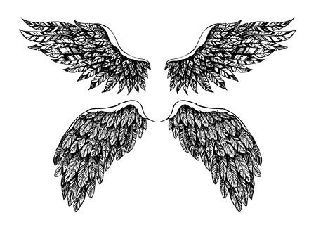 Main vecteur illustration tirée - ensemble d'ailes. Angel et démon. Esquisser