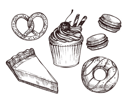 macaroon: Hand drawn vector illustration - Set with sweet and dessert (croissant, cupcakes, pretzels, donut, cake, cheesecake, macaroon).