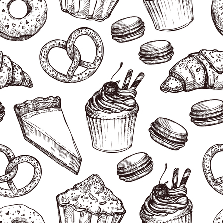 cheesecake: Hand drawn vector illustration - Seamless pattern with sweet and dessert. Yummy background (croissant, cupcakes, pretzels, cake, cheesecake, macaroon).
