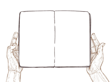 information medium: Hand drawn vector illustration - Hands hold empty open book. Template for your design. Sketch Illustration