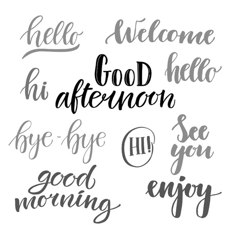 Vector illustration hand lettering catchwords hello good catchwords hello good morning good afternoon hi see you enjoy bye bye perfect for invitations greeting cards quotes blogs posters and more m4hsunfo