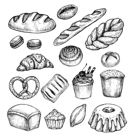 macaroon: Hand drawn vector illustration - Set with sweet and dessert (croissant, cupcakes, pretzels, donut, cake, cheesecake, macaroon, baguette, bread, pie).