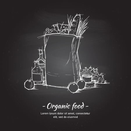 Hand drawn vector illustration - Supermarket shopping bag with healthy food. Grocery store. Chalk sketch