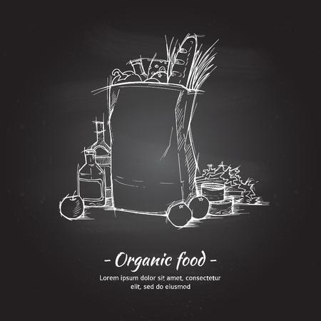 Main vecteur illustration tirée - sac shopping Supermarché avec de la nourriture saine. Épicerie. croquis Chalk
