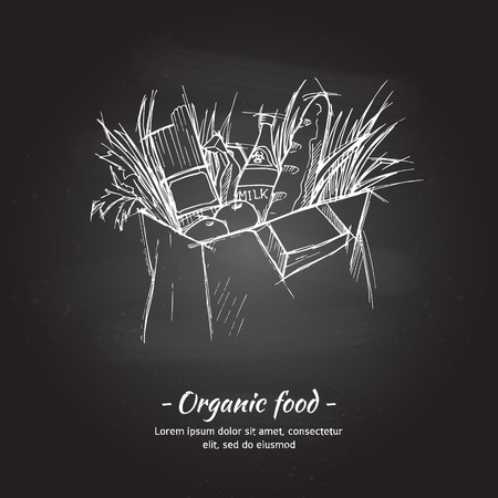 shoping bag: Hand drawn vector illustration - Supermarket shopping bag with healthy food. Grocery store. Chalk sketch