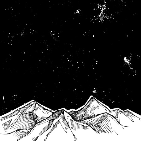 Hand drawn vector illustration - mountains and starry sky . Sketch style. Template for your design Illustration