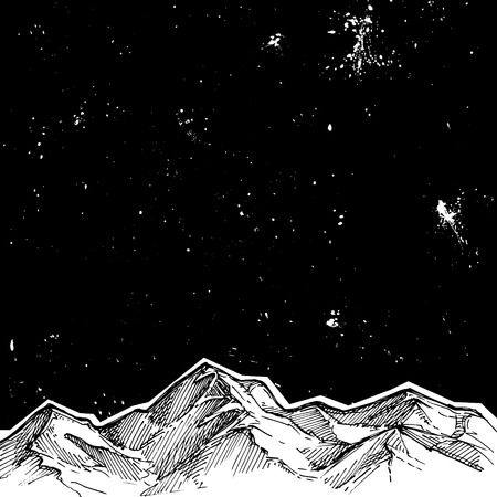 Hand drawn vector illustration - mountains and starry sky . Sketch style. Template for your design Ilustração