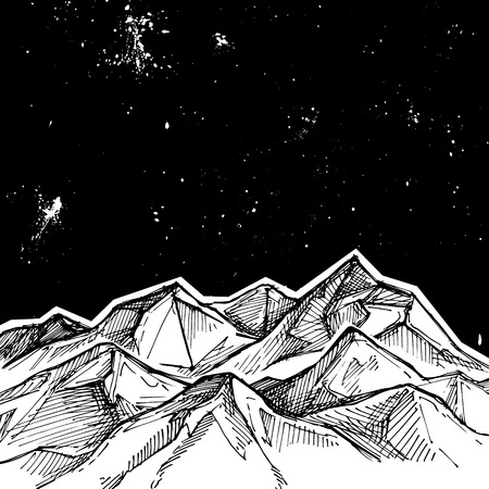 tirol: Hand drawn vector illustration - mountains and starry sky . Sketch style. Template for your design Illustration