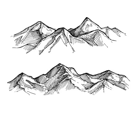 Hand drawn vector illustration - mountains. Sketch style. Vettoriali