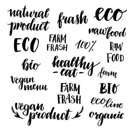 vegan food: Hand drawn vector illustration - Set of organic food labels. Organic and vegan food. Perfect for cards, quotes, stickers, blogs, posters and more. Illustration