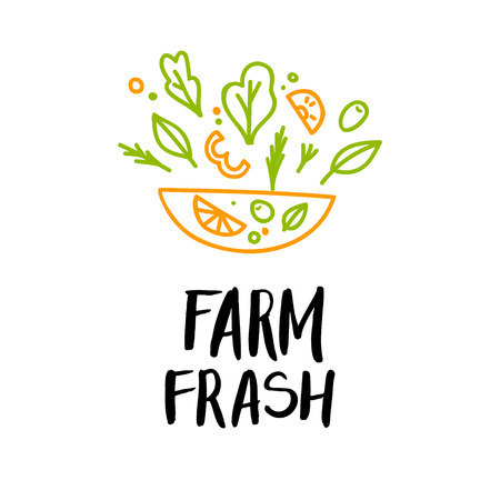 provision: Hand drawn vector illustration - Farm fresh. Logo. Organic and vegan food. Perfect for cards, quotes, stickers, blogs, posters and more.