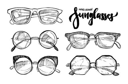 eyewear: Hand drawn vector illustration - sunglasses. Fashion sunglasses. Vintage decorative  design elements.