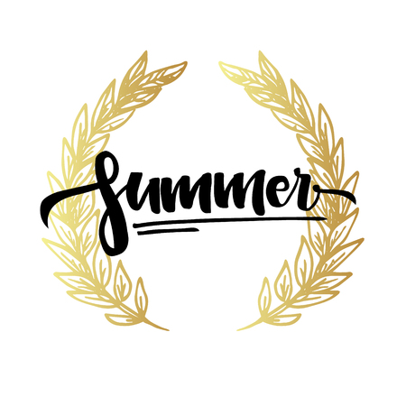 Hand lettering vector illustration - Summer. Hand drawn design elements.. Perfect for invitations, greeting cards, quotes, blogs, posters and more. Illustration