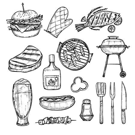 손으로 그려진 된 벡터 일러스트 레이 션 - 바베 큐 요소 (그릴, 핫도그, 햄버거, 생선, 맥주, 고기). 패스트 푸드 컬렉션. 바베큐 파티