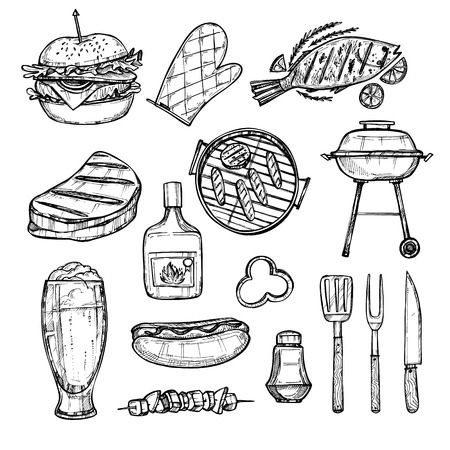 Hand drawn vector illustration - BBQ elements (grill, hot dog. hamburger, fish, beer, meat). Fast food collection. BBQ party