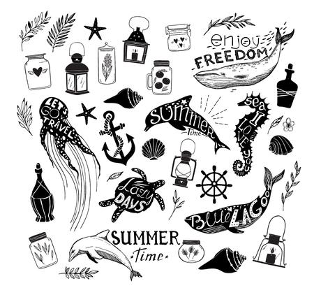 Ręcznie rysowane ilustracji wektorowych - Życie morskie. Idealne na zaproszenia, karty okolicznościowe, notowania, blogi, plakaty i wiele innych. Sylwetka wieloryby, delfiny, koniki morskie, żółwie i meduzy z cytatów