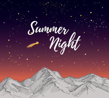 starry sky: Hand drawn vector illustration - Summer night with Starry sky. Landscape nature.