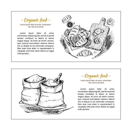 bagful: Hand drawn - bakery shop. Basket with pastry. Sacks of flour and grain. Sketch Illustration