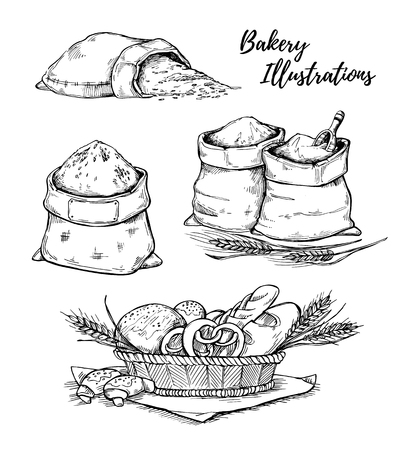 bagful: Hand drawn illustrations - bakery. Basket with pastry. Sacks of flour and grain. Sketch Illustration