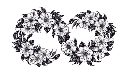 Hand drawn vector illustration - infinity sign with flowers and leaves. Perfect for invitations, greeting cards, quotes, tattoo, textiles, blogs, posters etc.