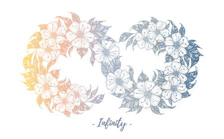 Hand gezeichnete Illustration - Unendlichkeitszeichen mit Blumen und Blättern. Perfekt für Einladungen, Grußkarten, Zitate, Tätowierung, Textilien, Blogs, Poster etc. Illustration