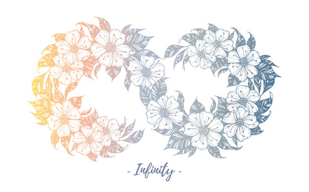 Hand drawn illustration - infinity sign with flowers and leaves. Perfect for invitations, greeting cards, quotes, tattoo, textiles, blogs, posters etc. Illustration
