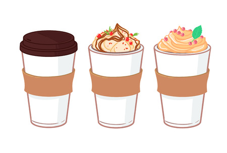 Hand drawn illustration - Coffee to go and other sweet desserts. with cups of coffee