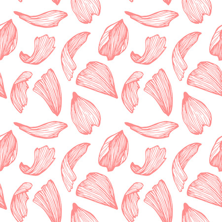 Hand drawn vector seamless pattern - rose petals. Pink background