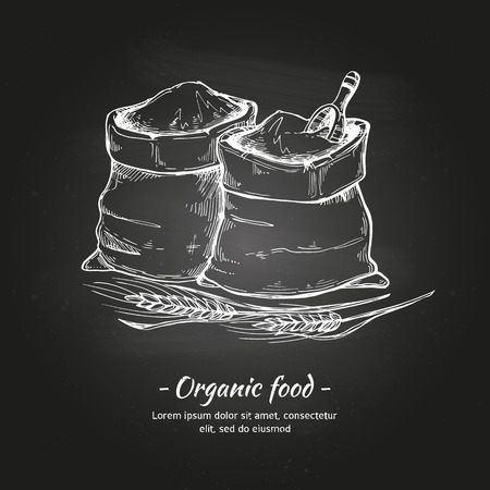 Hand drawn vector illustrations - Organic food. Sacks of flour and grain. Sketch