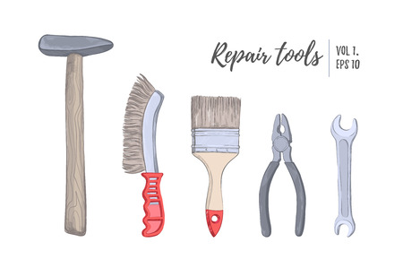 Hand drawn vector illustration - tools (hammer, brush, pliers, wrench), vol.1. Building, repair and decoration works. Sketch. Design elements Vectores