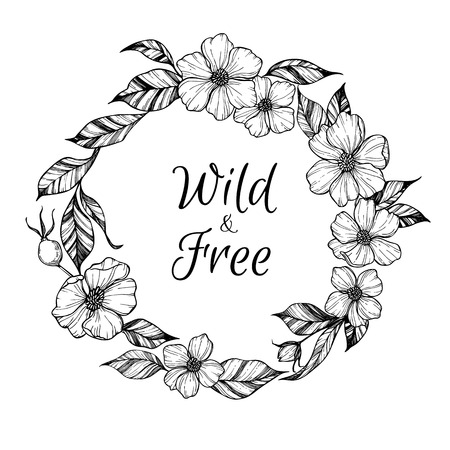 Hand drawn vector illustration - wreath with flowers and leaves. Perfect for invitations, greeting cards, quotes, tattoo, textiles, blogs, posters etc. Floral frame