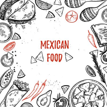 Illustrations dessinées à la main - Cuisine mexicaine (tacos, nachos, burritos, piment, avocat, sauce, tomates, maracas). Esquisser. Modèle pour votre conception