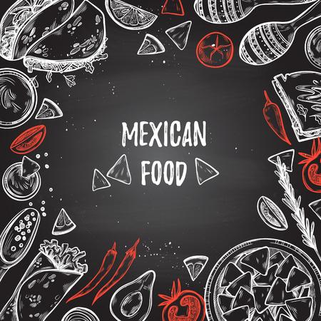 手描きイラスト - メキシコ料理 (タコス、ナチョス、ブリトー、唐辛子、アボカド、醤油、トマト、マラカス)。スケッチ。黒板背景を使用したデザインのテンプレートです。 写真素材 - 71714064