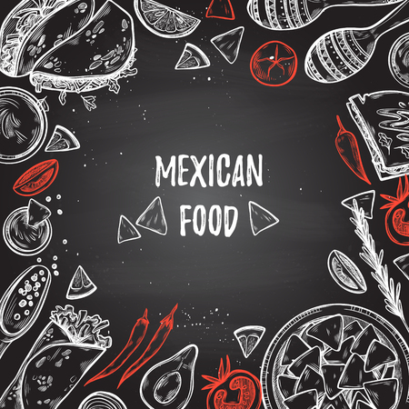 Hand drawn illustrations - Mexican food (tacos, nachos, burritos, chili pepper, avocado, sauce, tomato, maracas). Sketch. Template for your design with chalkboard background.