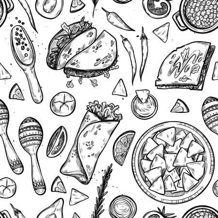 Fond dessiné à main - Cuisine mexicaine (tacos, nachos, burritos, piment, avocat, sauce, tomate, maracas).